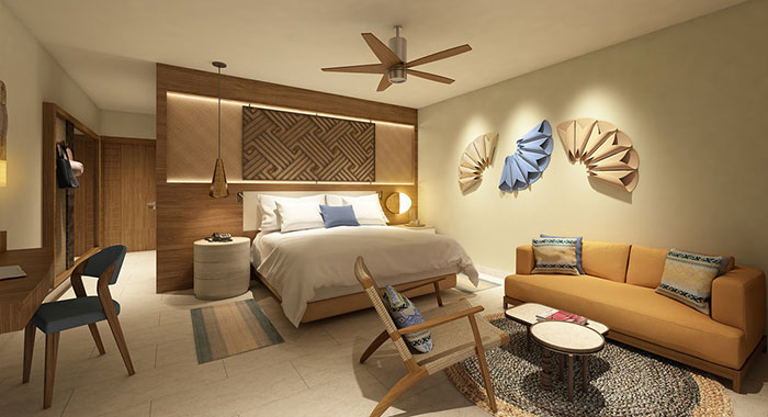 Double bedroom with seating area