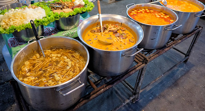 Varity of Thai meals in large vats