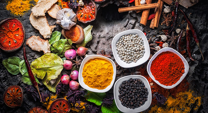 Coloured herbs and spices