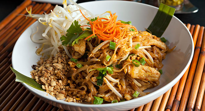 Finished Thai dish of pad tai