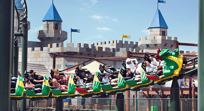 Roller coaster ride in Legoland