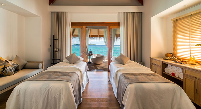 Soa treatment beds with views over the blue sea