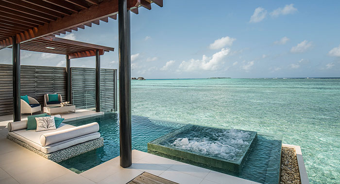 Plunge pool with square Jacuzzi  over water