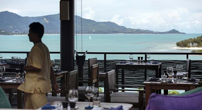 Dining overlooking the sea
