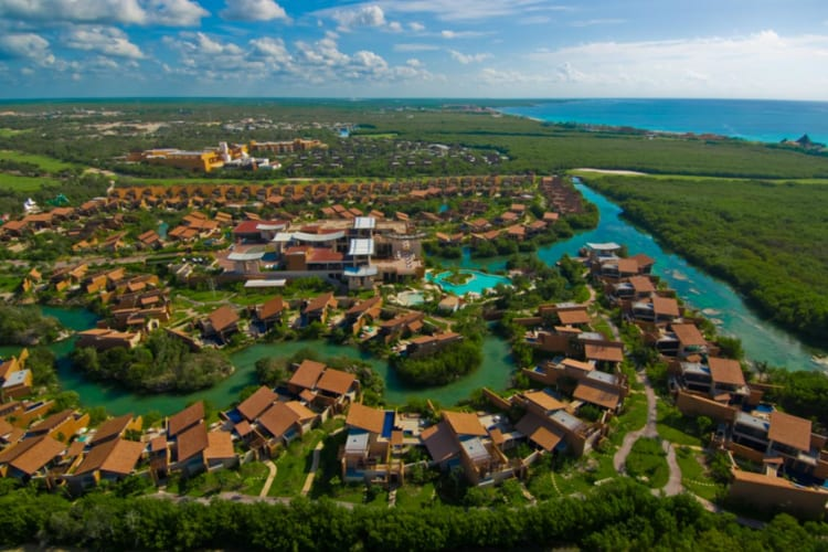 Aerial view of Banyan Tree Mayakoba