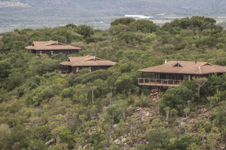 Aerial view of Kariega Game Reserve main lodge