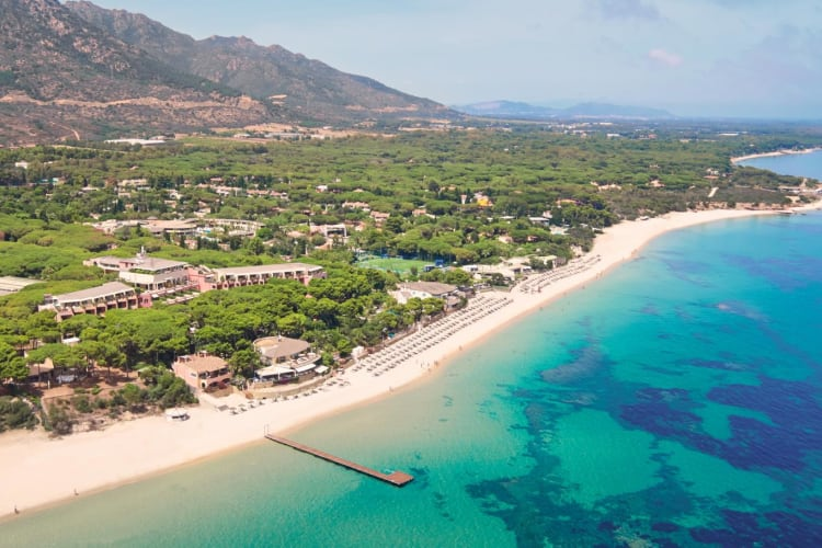 Aerial view Forte Village Beach