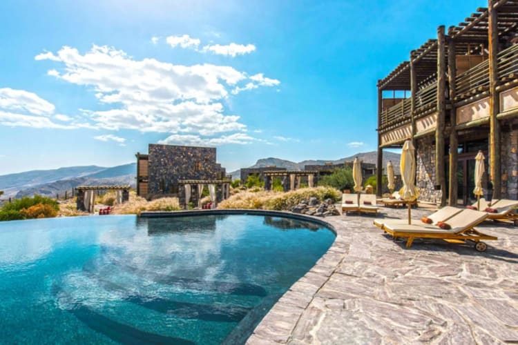Alila Jabal Akhdar pool and sunbeds
