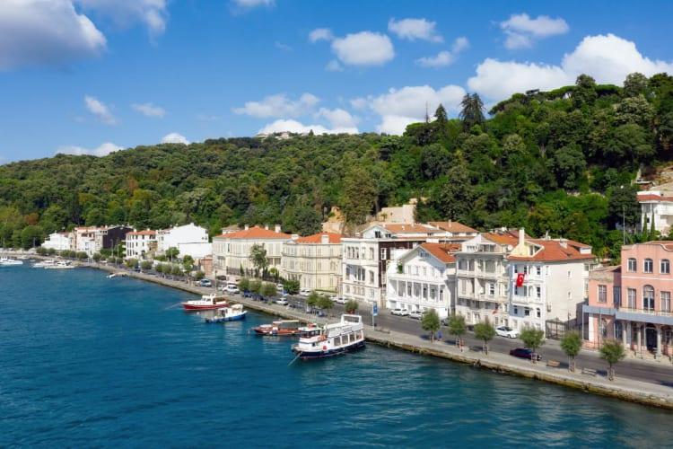Aerial view of Bosphorus & hotel