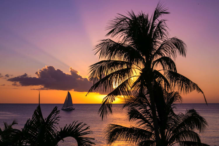 Sunset view of the sea with sailboat