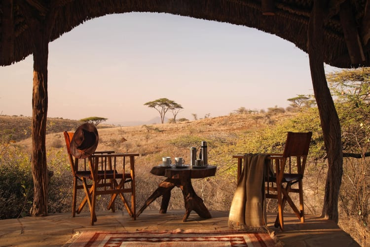 Lewa Safari Camp   Morning Tea on veranda