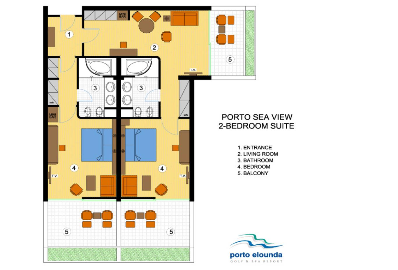Porto Sea View 2 Bed Suite floorplan