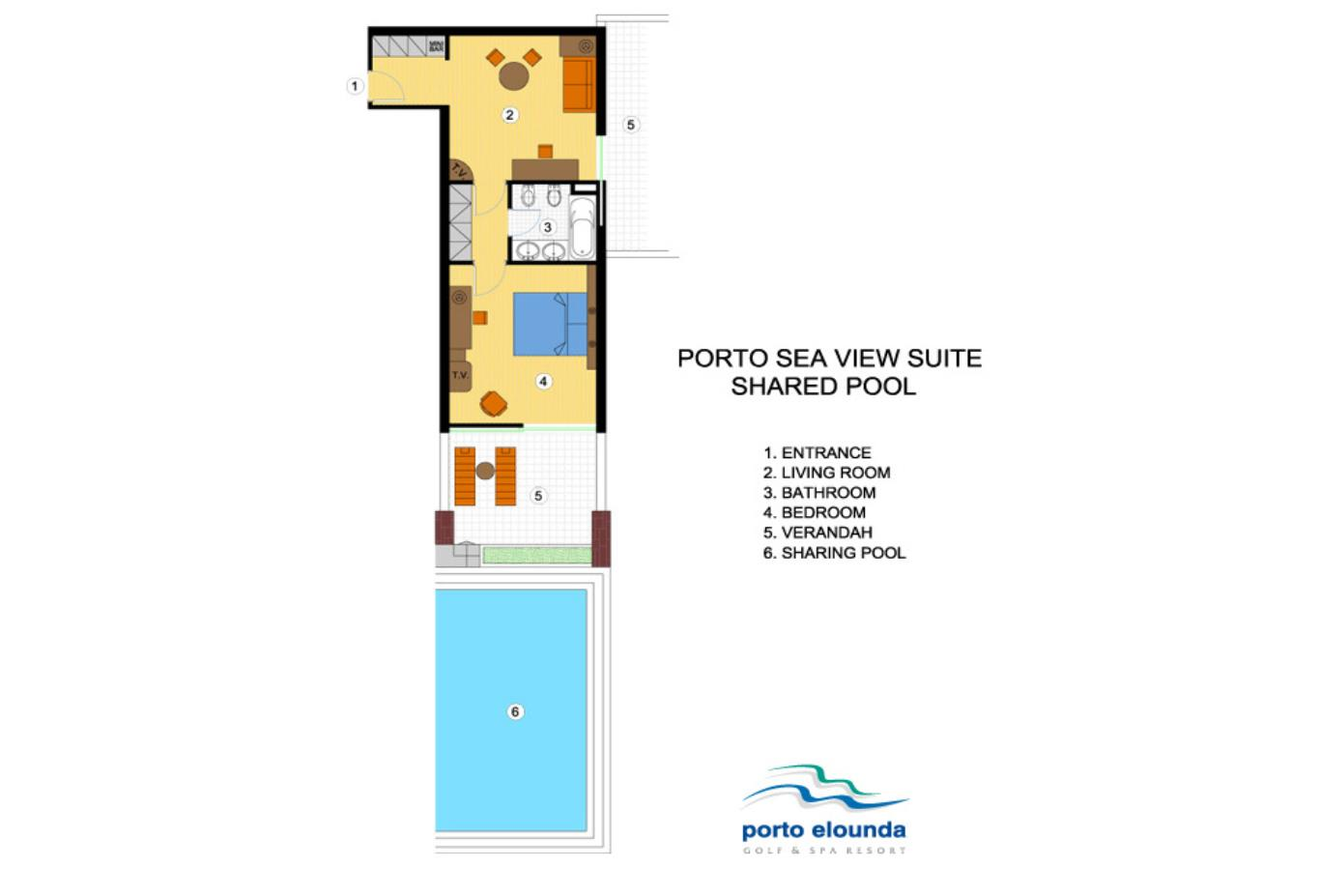 Porto Sea View Suite Shared Pool floorplan