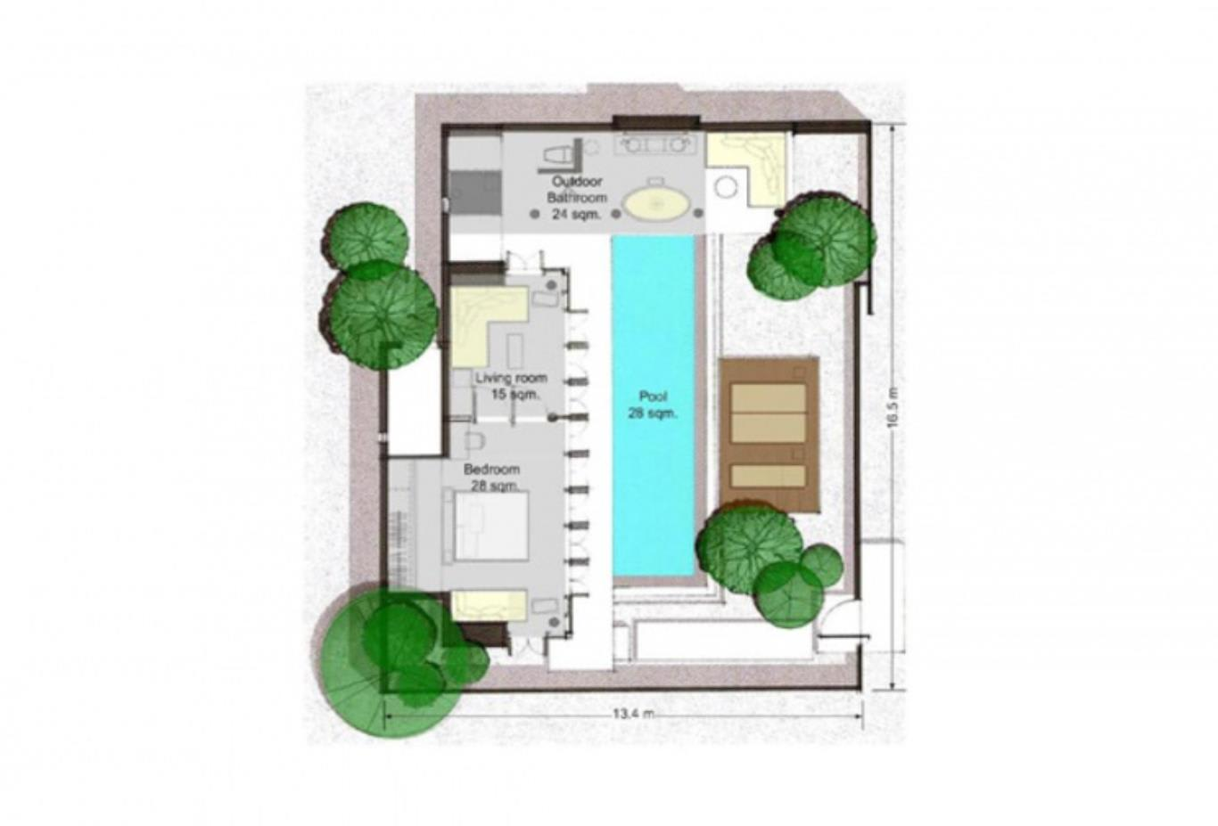 1 Bedroom Pool Villa Suite floorplan