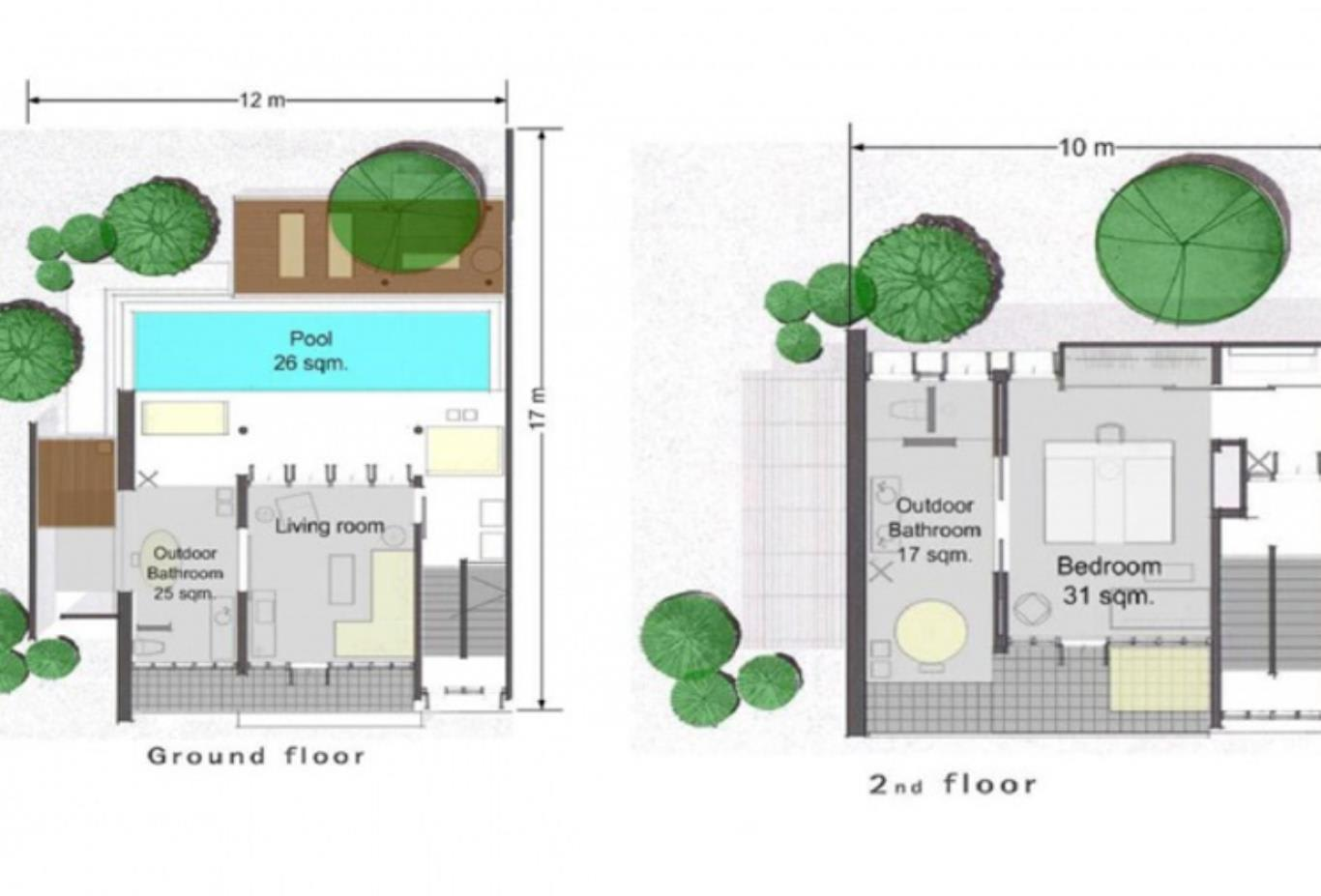 One bedroom duplex pool villa suite floorplan