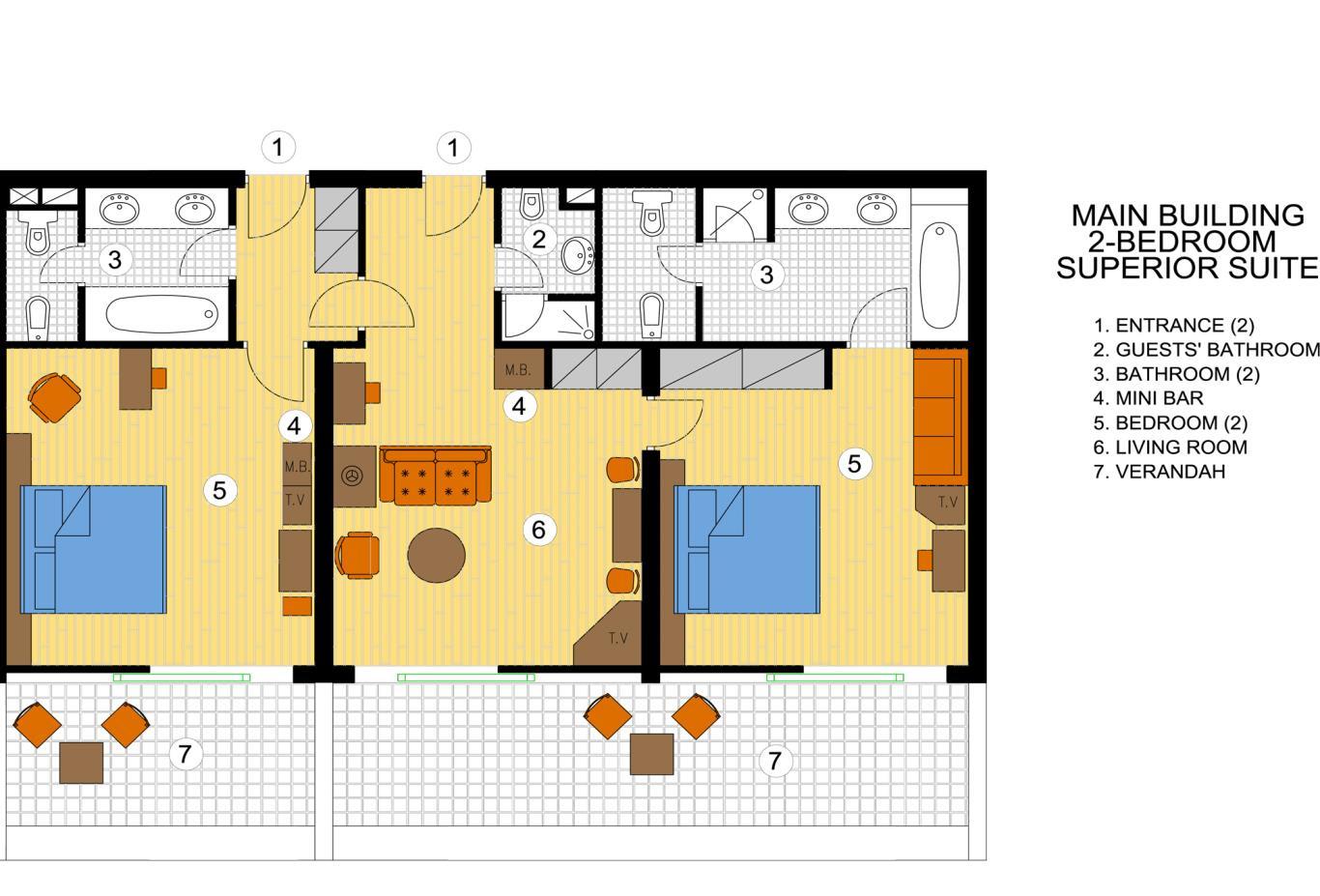 Two Bedroom Superior Suite floorplan