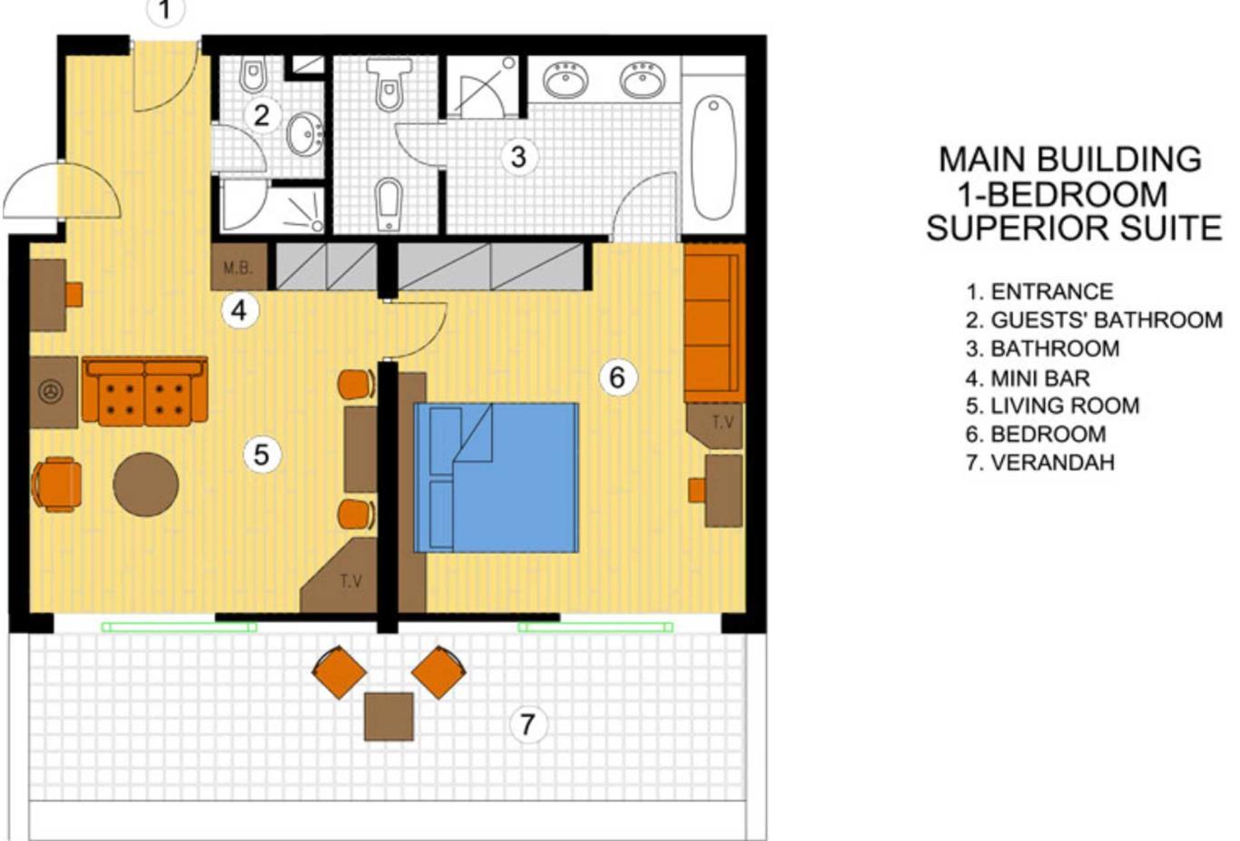 One Bedroom Superior Suite floorplan