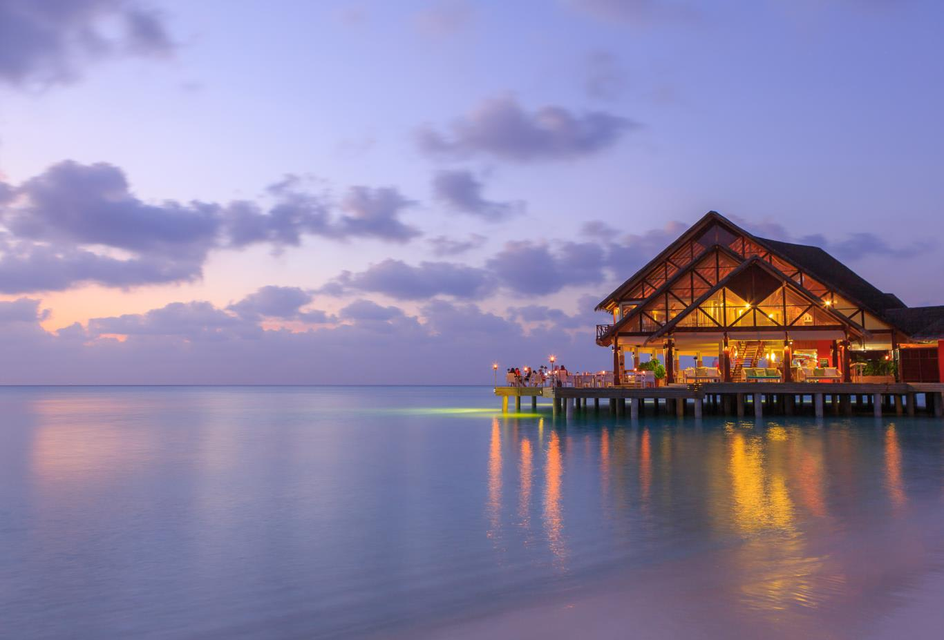 Sea Fire Salt restaurant at dusk