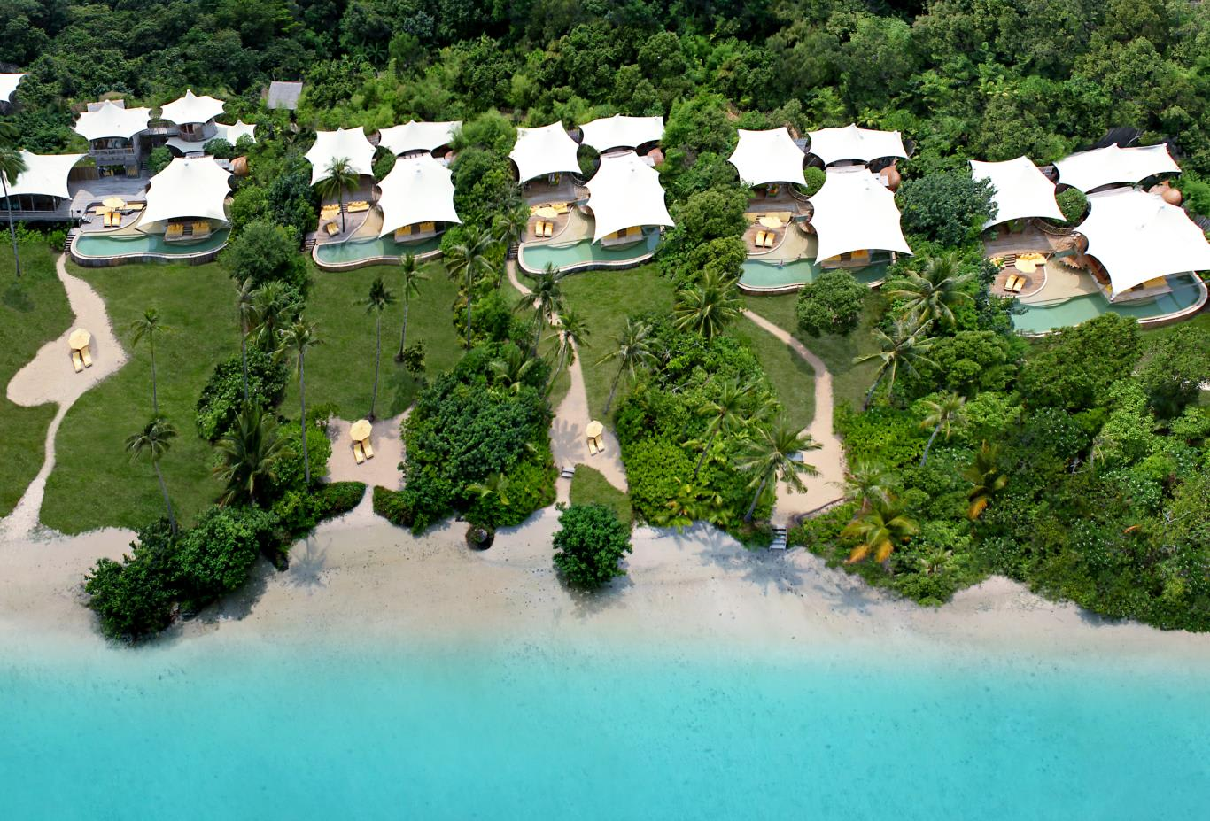 Aerial view of Soneva Kiri