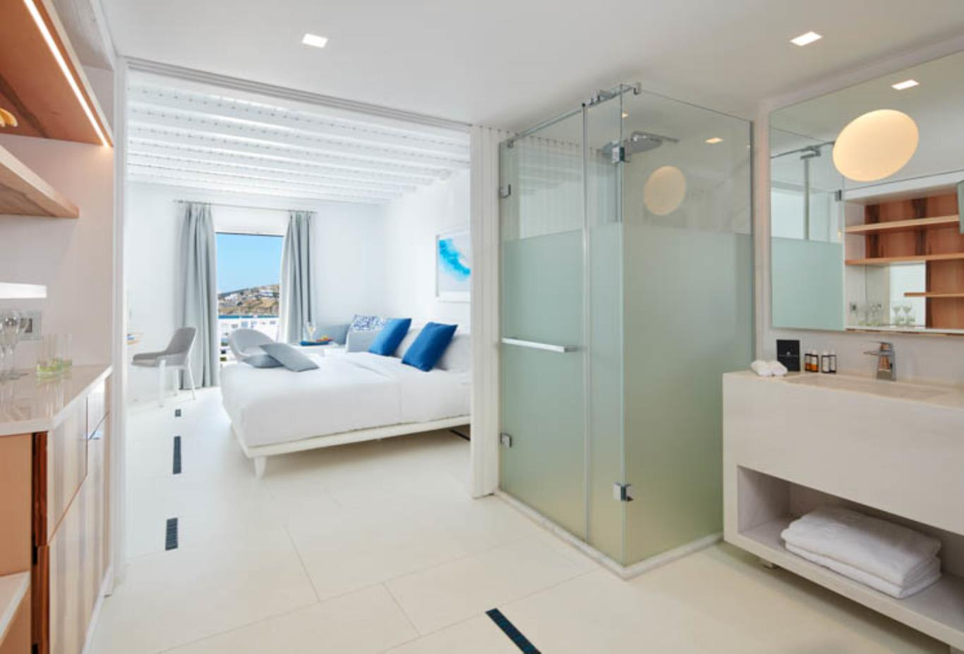 True Blue bedroom and shower