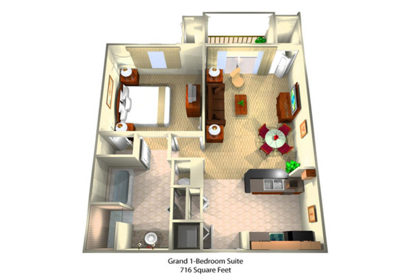 Grand One Bedroom Suite Floorplan