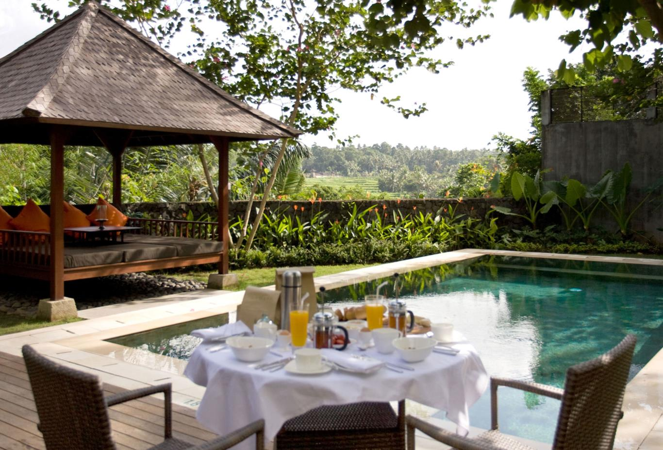 Hillside villa breakfast