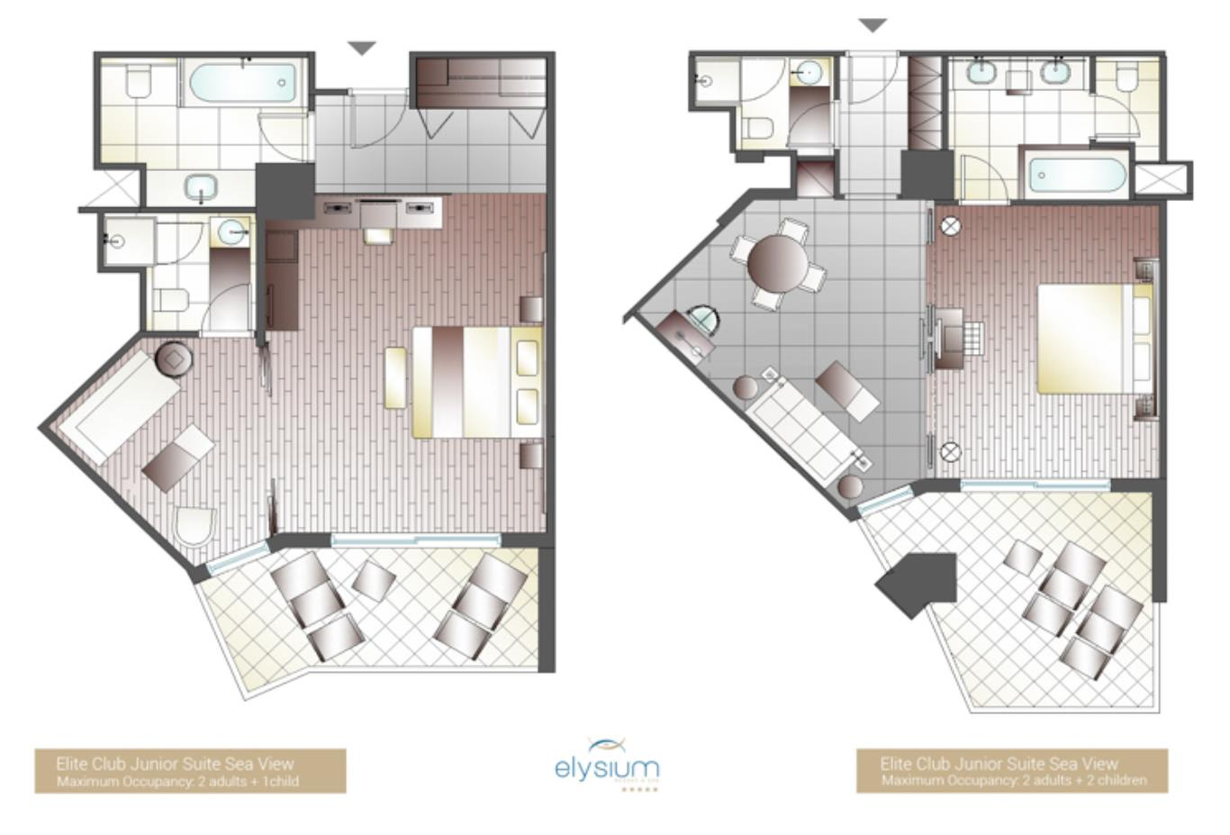 Elite Club Junior Suite Sea View floorplan