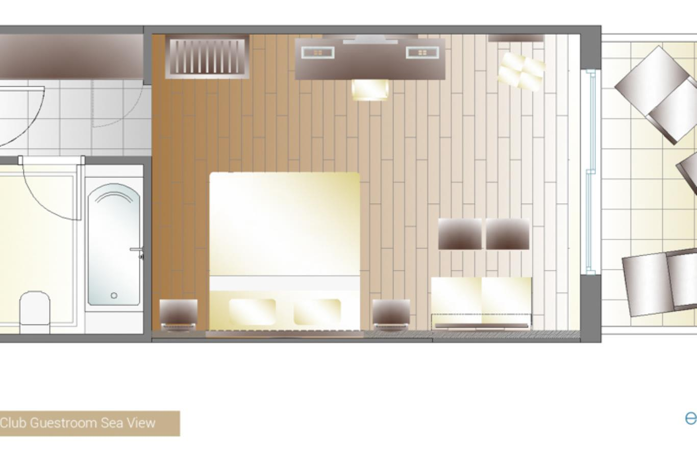 Elite Club guestroom sea view floorplan