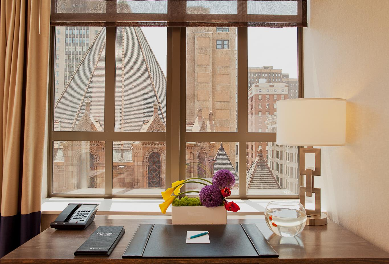 Desk and view from Cityview King Room