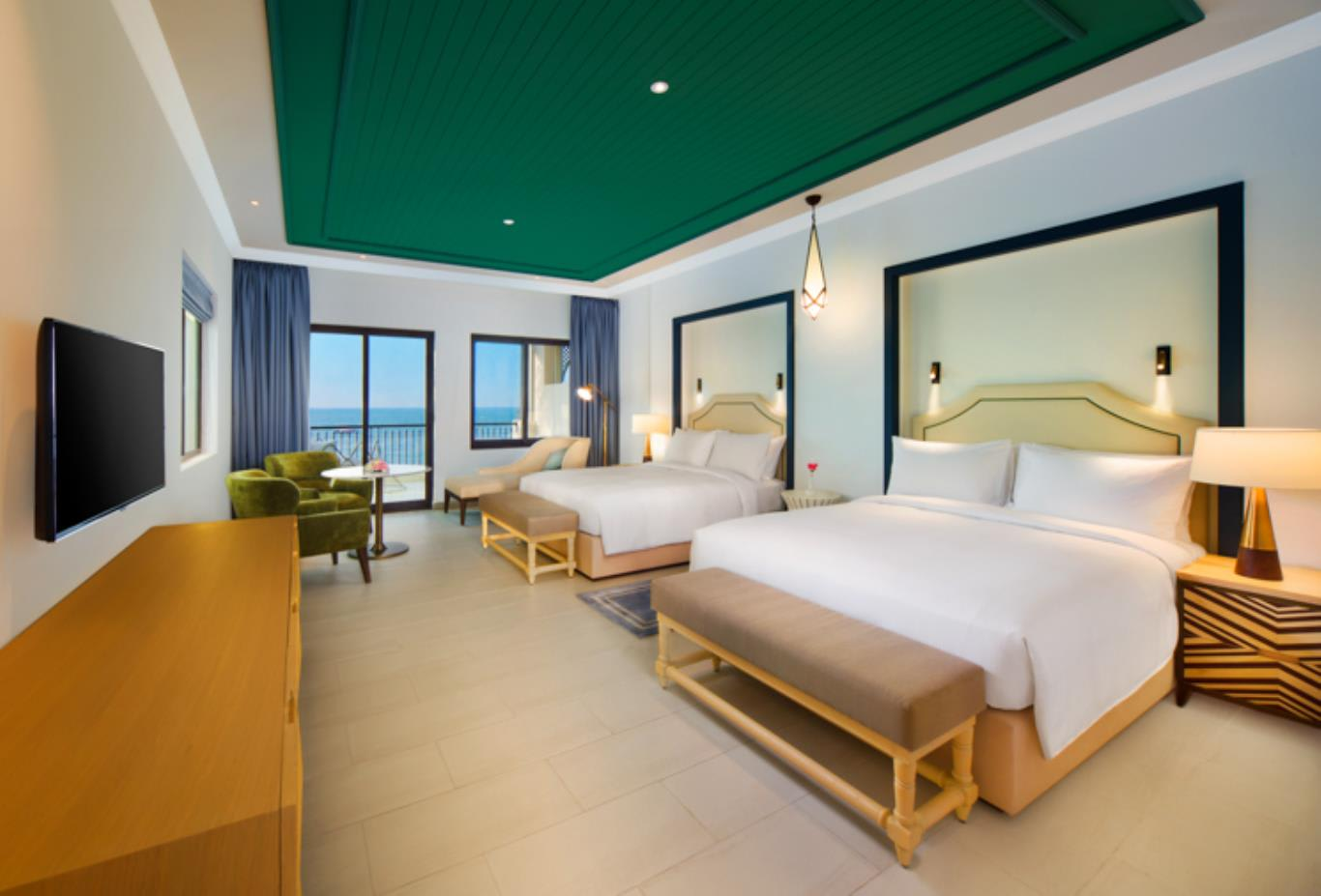 Family Sea Front Villa Bedroom