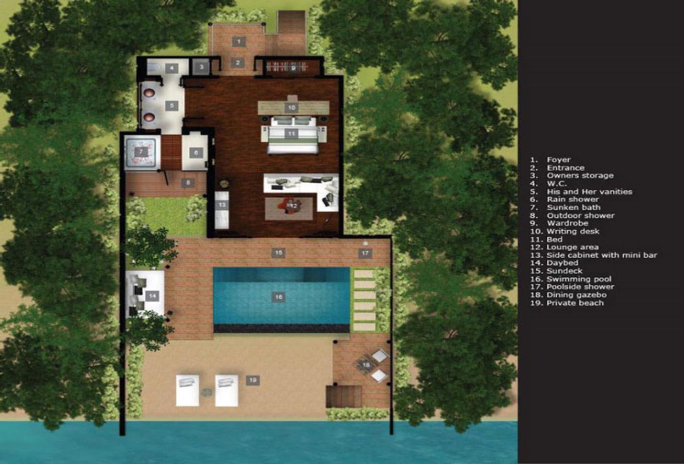 Floorplan 1 Bedroom Ocean Villa