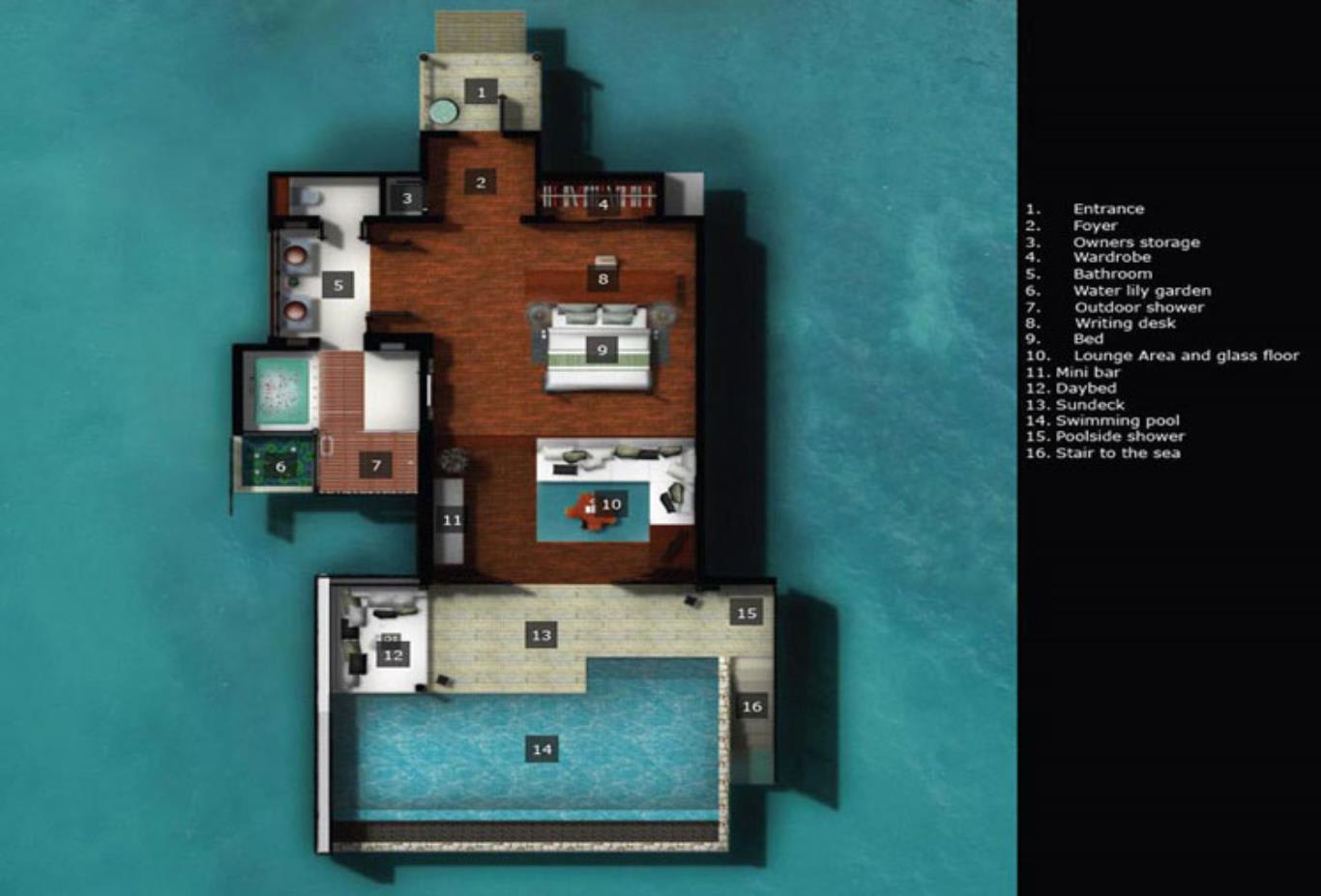 Floorplan 1 Bedroom Overwater Villa