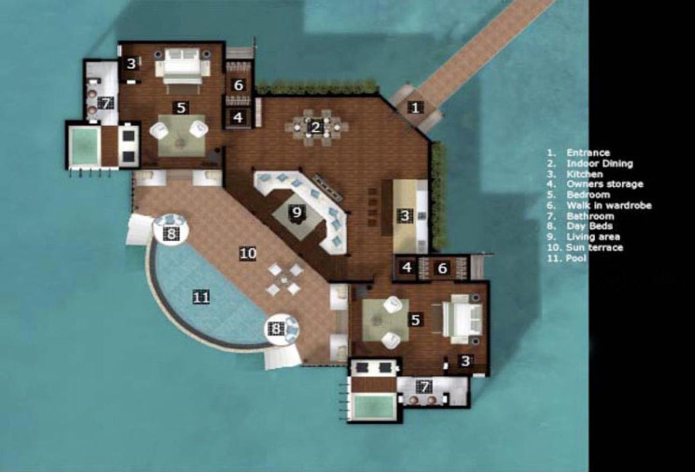 Floorplan-2 Bedroom Overwater Villa