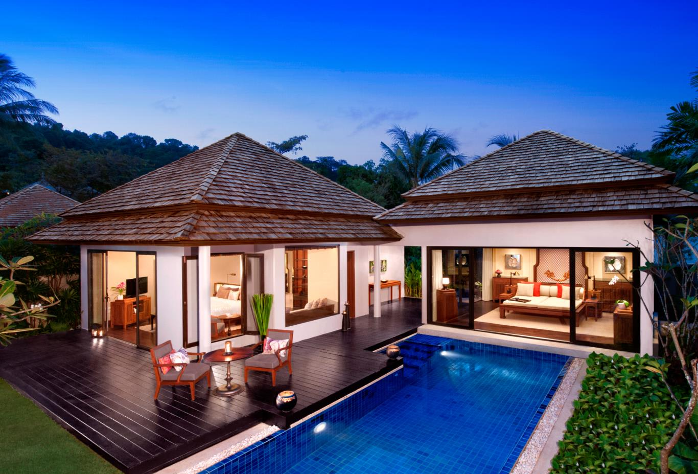 Beach Access Pool Villa night