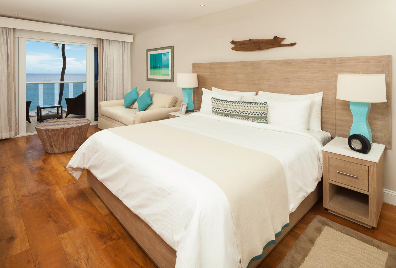 Oceanfront Room bed