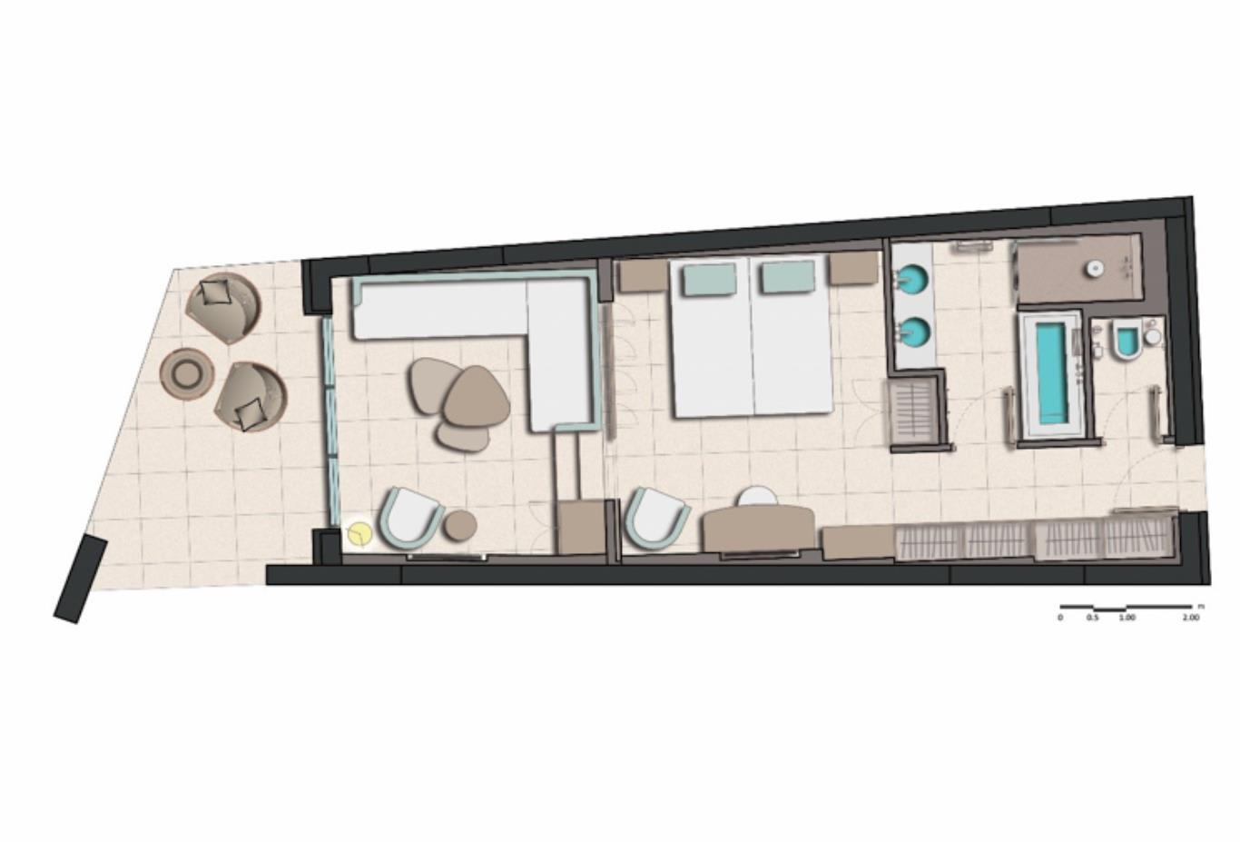 Family Junior Suite side sea view floorplan