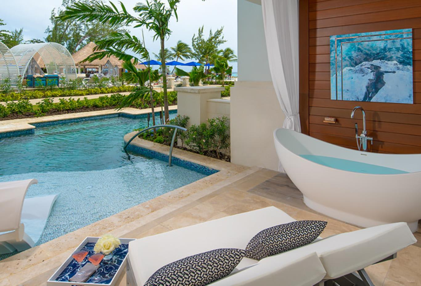 1SUP Royal Seaside Crystal Lagoon Swim Up One Bedroom Butler Suite with Balcony Tranquillity Soaking Tub patio