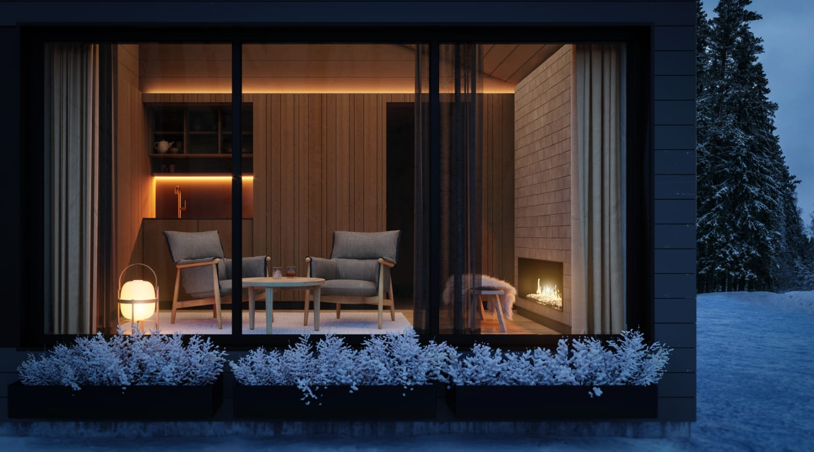 Lakeside Cabin Inari livingroom