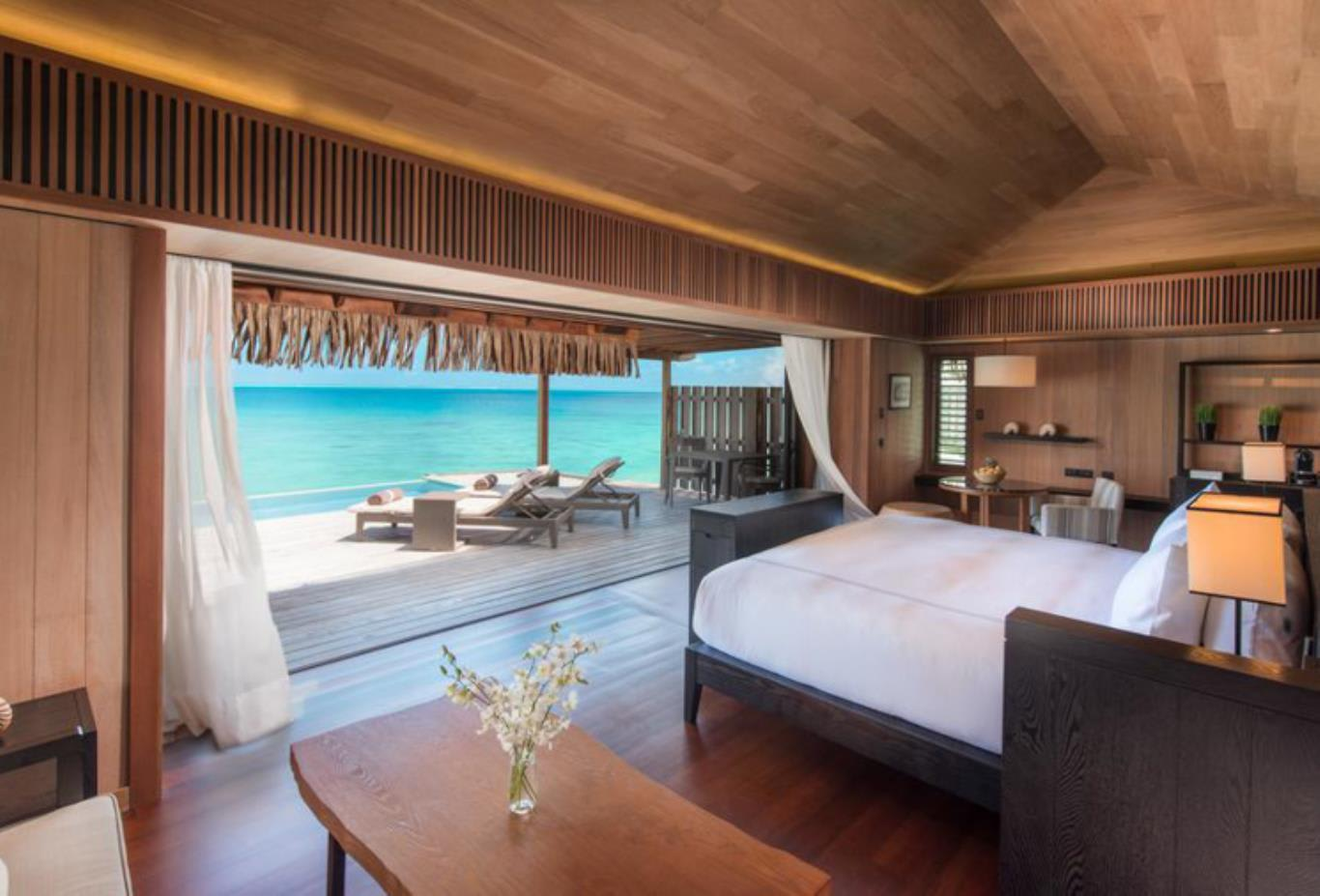 Overwater pool villa bedroom area