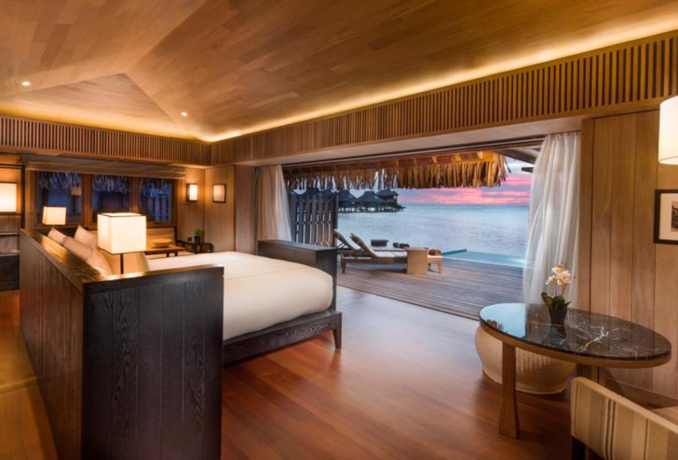 Overwater pool villa bedroom