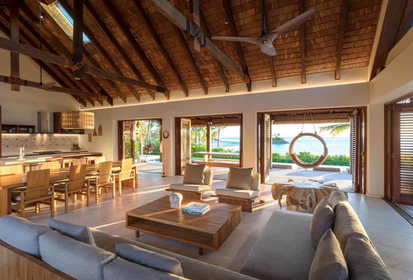 Two Bedroom Beachfront Pool Residence  living area