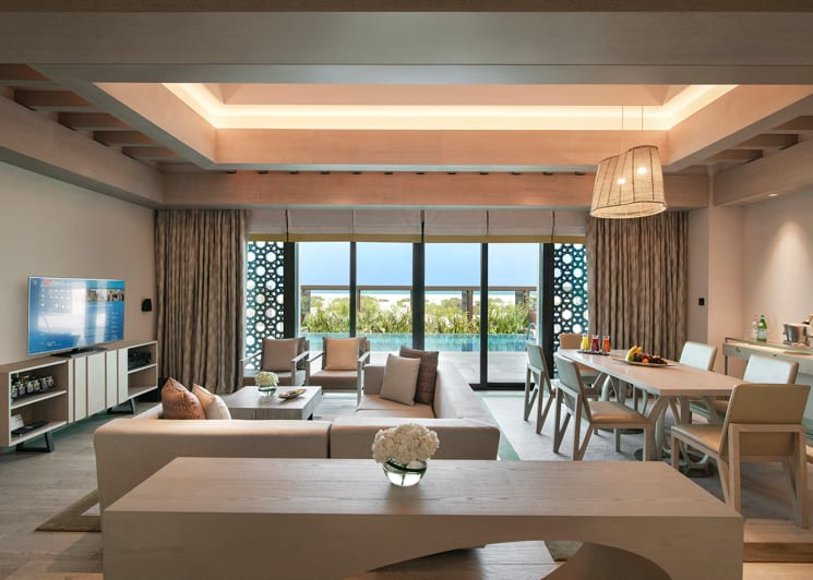 2 Bedroom Beachfront Villa Living Dining Room