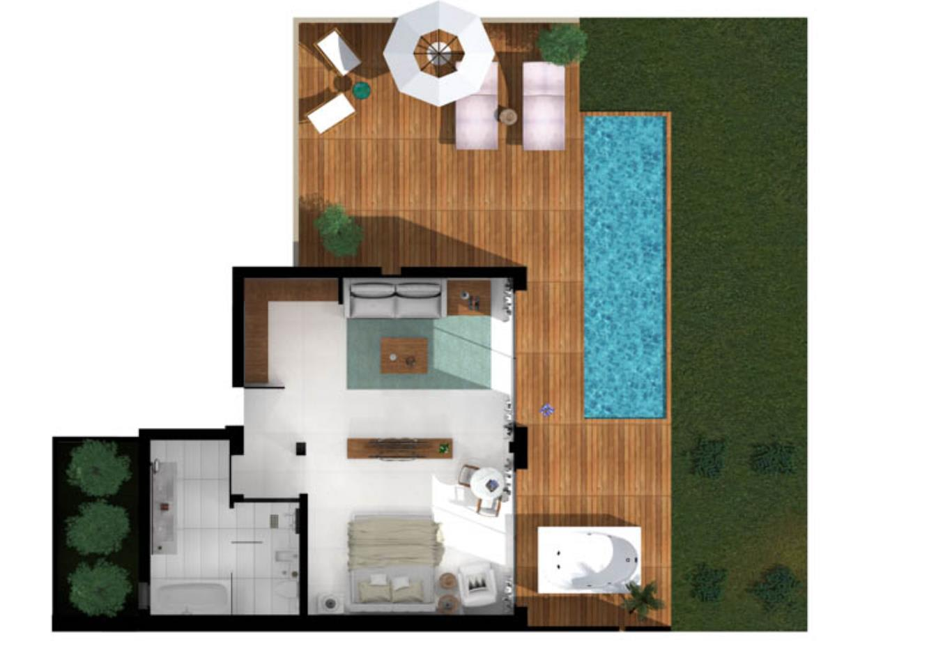 Pavilion Suite Sea View with Jacuzzi and Pool Floorplan