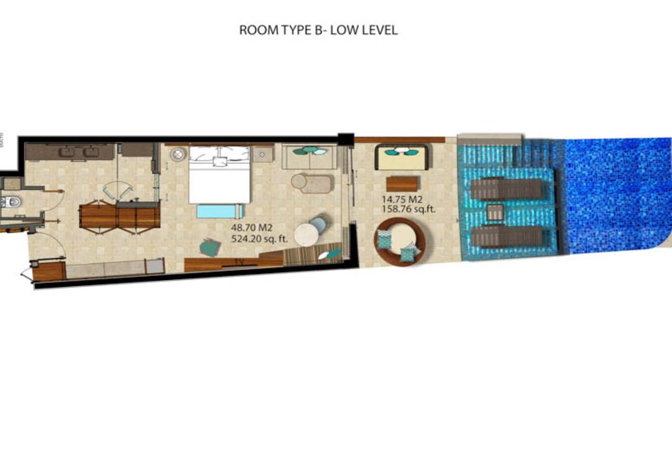 Floor Plan Junior Suite Swim-Out Partial Ocean View