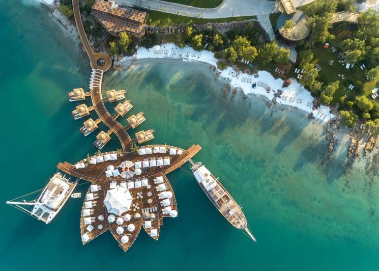 Pier lotus aerial view