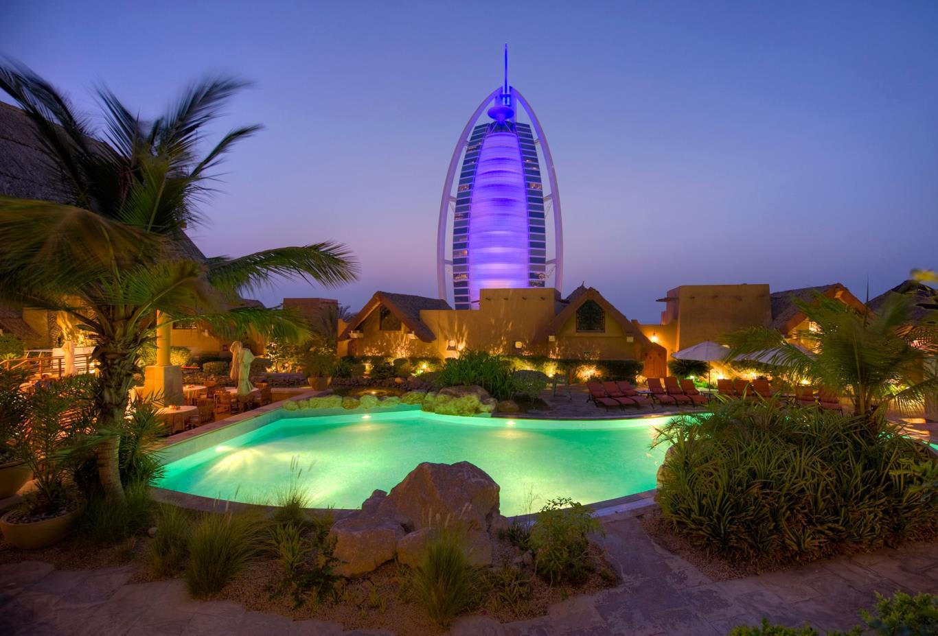 villas-pools-at-night