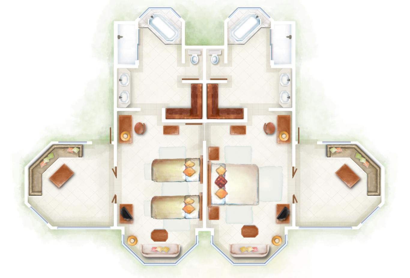Dinarobin Family Suite Floorplan