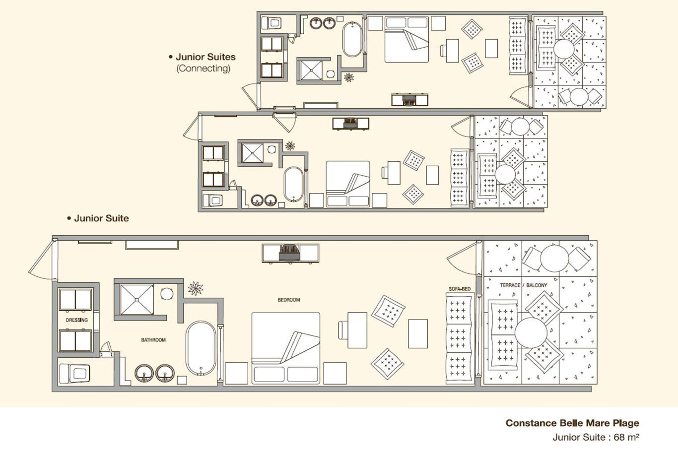 Beach Front Junior Suite Floorplan