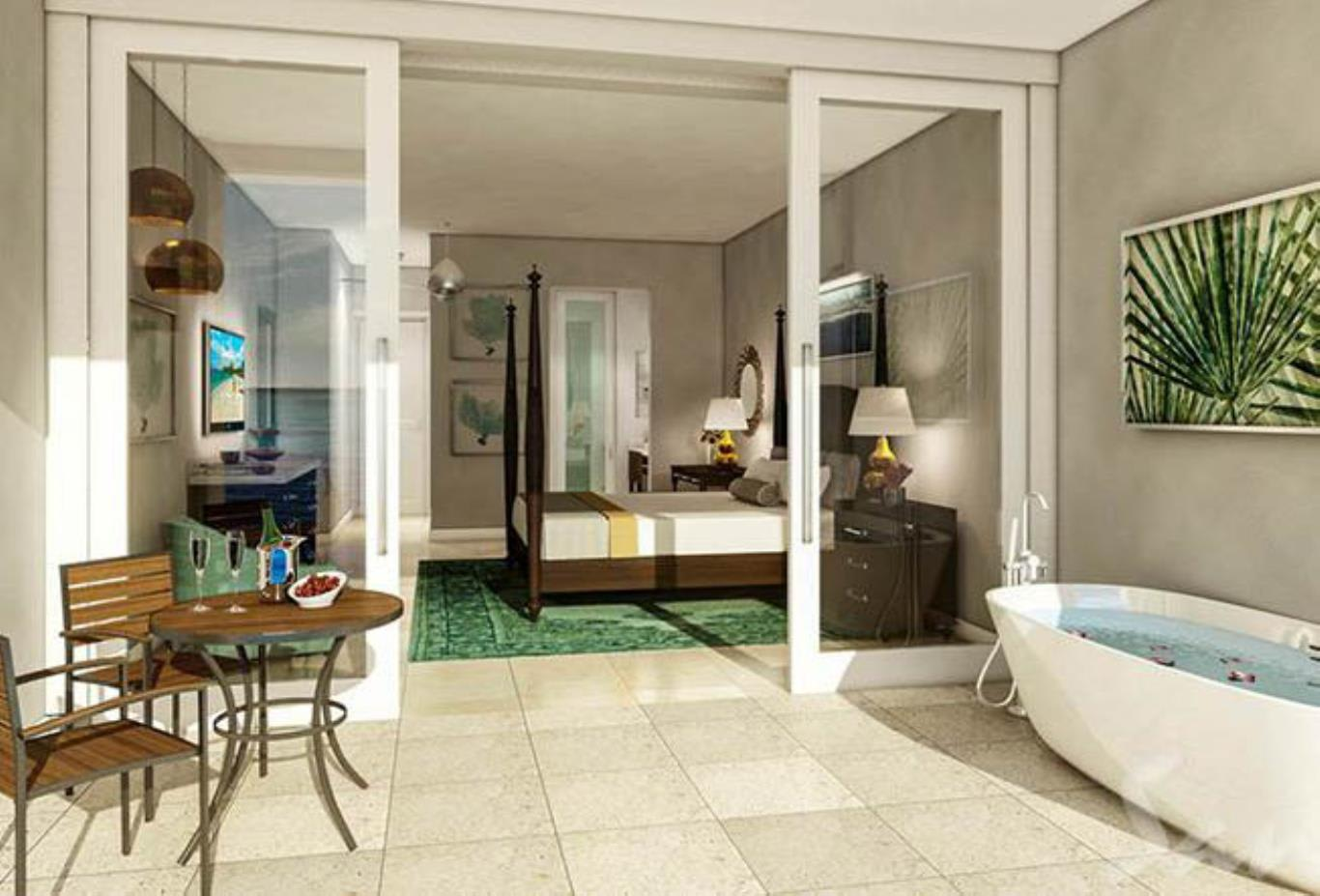 Windsor Beachfront Walkout Club Level Room with Patio Tranquility Soaking Tub - WBT