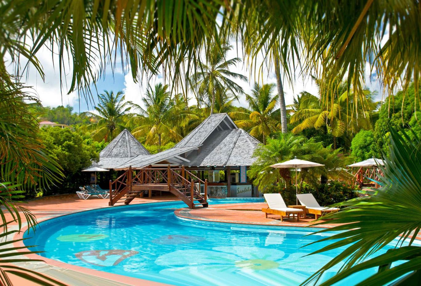 Resort swimming pools and loungers